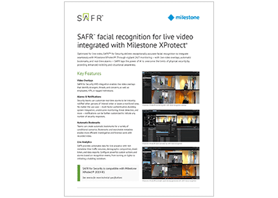 SAFR for Milestone Specifications Sheet